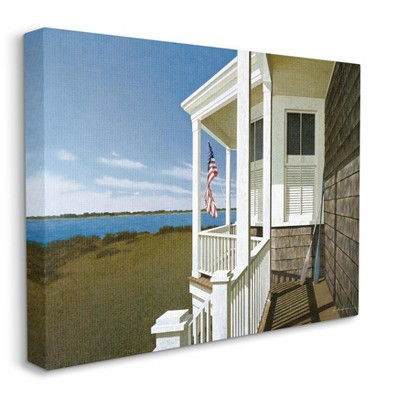 Stupell Industries Americana Cottage Porch Realistic Coastal Painting