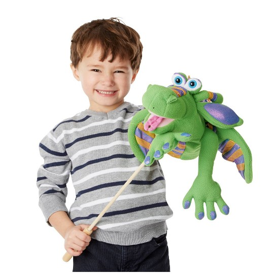 Melissa & Doug Smoulder the Dragon Puppet With Detachable Wooden Rod for Animated Gestures image number null