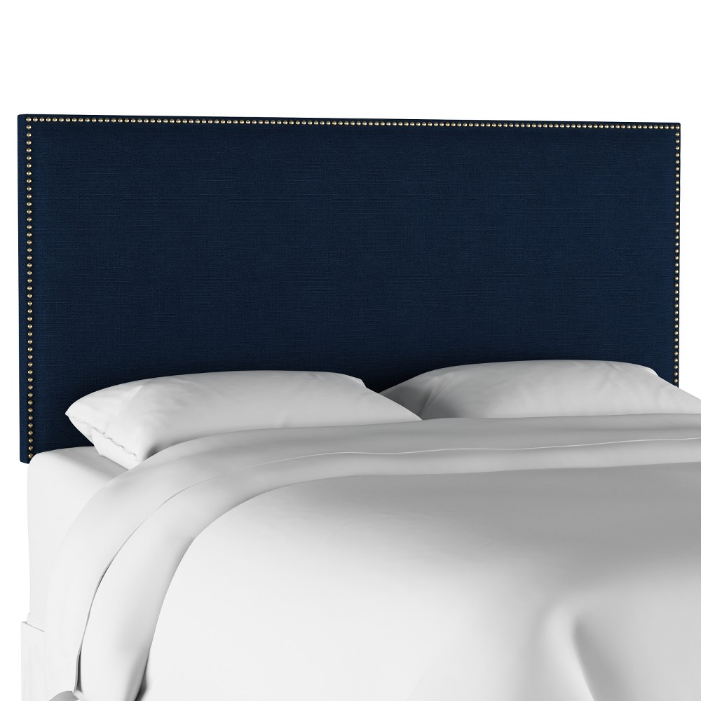 King Arcadia Nailbutton Headboard Linen Navy with Gold Nail Buttons - Skyline Furniture