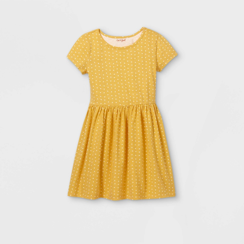 Girls 39 Printed Knit Short Sleeve Dress Cat 38 Jack 8482 Light Mustard Xs