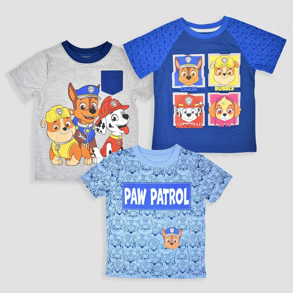 Toddler Boys' 3pk Paw Patrol Short Sleeve T-Shirt - Blue/Gray 3T, Multicolored