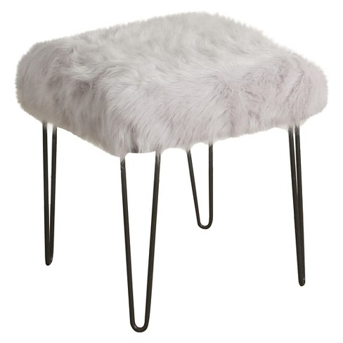 Faux Fur Gray Stool - HomePop - image 1 of 4