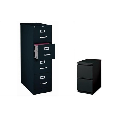 2 Piece Value Pack 4 Drawer And 2 Drawer Mobile File Cabinet In Black Hirsh  Industries LLC