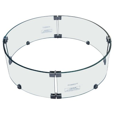 Manchester Round Tempered Glass Wind Screen for Outdoor Fire Pit - Elementi