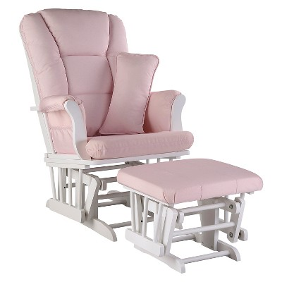 Storkcraft Tuscany White Glider and Ottoman - Pink Blush Swirl
