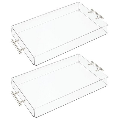 mDesign Acrylic Rectangular Serving Tray with Handles - 2 Pack