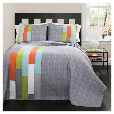 Shelly Stripe Quilt 3 Piece Set (Full/Queen)Orange/Blue - Lush Décor