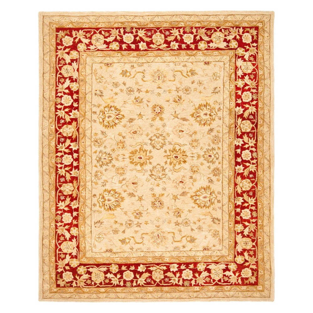 Floral Area Rug Ivory/Red
