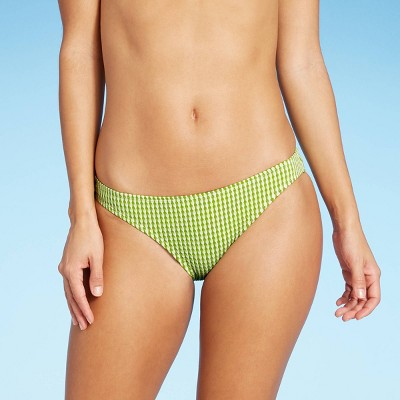 Juniors' Textured Cheeky Bikini Bottom - Xhilaration™ Lime Stripe