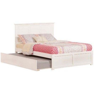 Madison Full Flat Panel Foot Board w/ Urban Trundle White - Atlantic Furniture