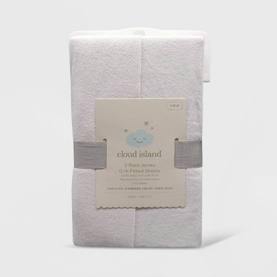 Fitted Crib Jersey Sheet - Cloud Island™ - White 2pk