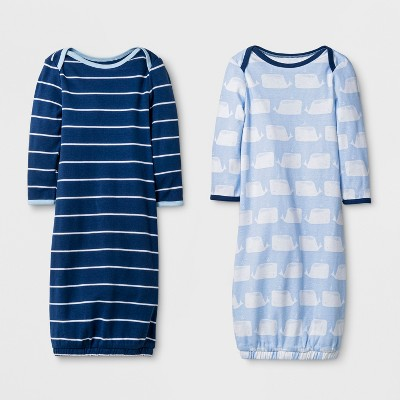 Baby Boys' 2pk Gown Set Cloud Island™ - Navy/Blue 0-6M