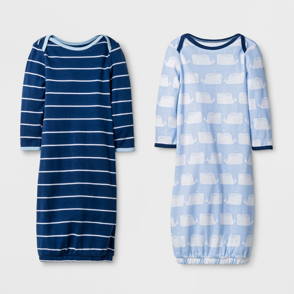 Baby Boys' 2pk Gowns - Cloud Island Navy/Blue (Blue/Blue) 0-6M