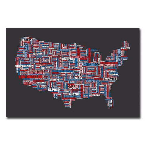 'US Cities Text Map' by Michael Tompsett Ready to Hang Canvas Wall Art - image 1 of 3