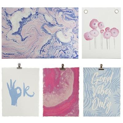 12.3 x8.5  5pc Gallery Decorative Wall Art Set Pink - Room Essentials™