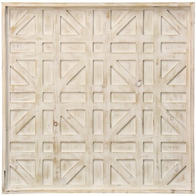 28  Wooden Geometric and Dimensional Panel Rectangle and Square Shape Design Decorative Wall Art Buff Beige - StyleCraft