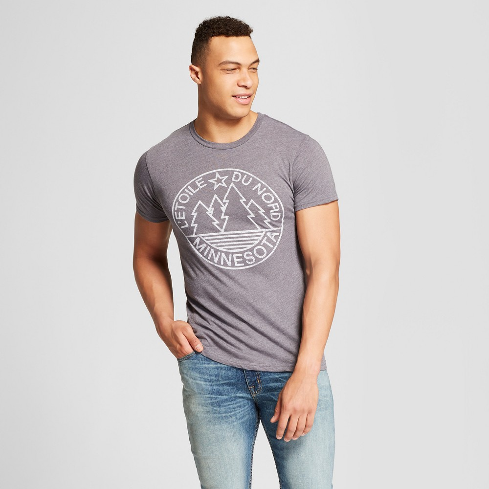 Best Price Men Minnesota Letoile Du Nord Short Sleeve Crew Neck T Shirt Awake Charcoal XL Gray