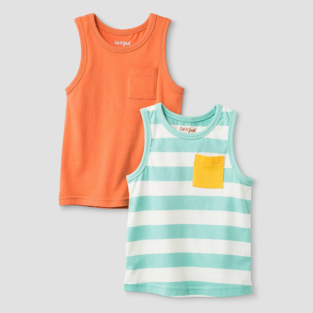 Toddler Boys' Jersey 2pk Tank Top - Cat & Jack Orange/White/Mint 2T, Green