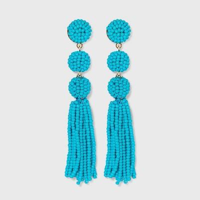 SUGARFIX by BaubleBar Beaded Ball Drop Tassel Earrings - Blue