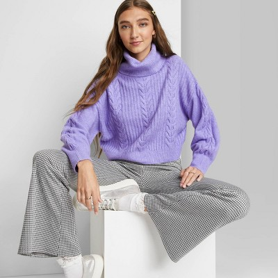 Women's Cropped Turtleneck Pullover Sweater - Wild Fable™