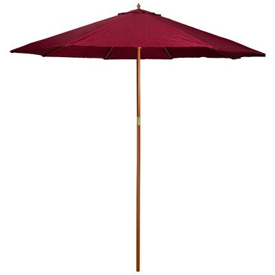Northlight 9ft Outdoor Patio Market Umbrella with Wood Pole, Burgundy