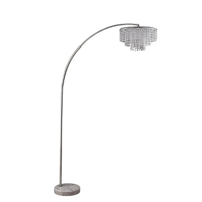 """86"""" Antique Large Arc Metal Floor Lamp with Chandelier Shade (Includes LED Light Bulb) Silver - Ore International"""
