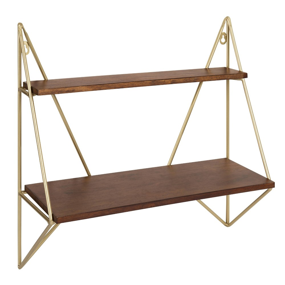 """Image of """"19.5"""""""" x 19.2"""""""" Melita Two-Tier Wood and Metal Wall Shelf Brown/Gold - Kate & Laurel All Things Decor, Brown Gold"""""""