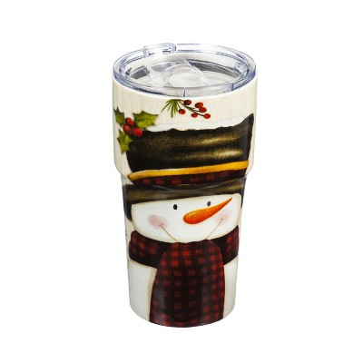 Cypress Home Double Wall Ceramic Companion Cup With Tritan Lid, 13 Oz, Let It Snow