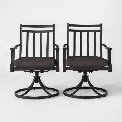 Fairmont 2pk Metal Patio Swivel Rocking Dining Chair - Charcoal - Threshold™