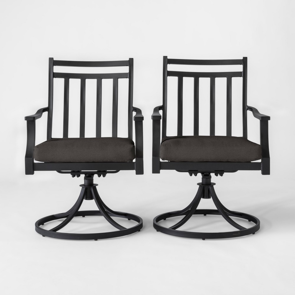 Fairmont 2pk Metal Swivel Rocking Patio Dining Chair Charcoal (Grey) - Threshold
