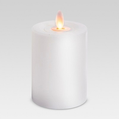 "3"" x 4"" Outdoor LED Motion Flame Resin Candle White - Threshold™"