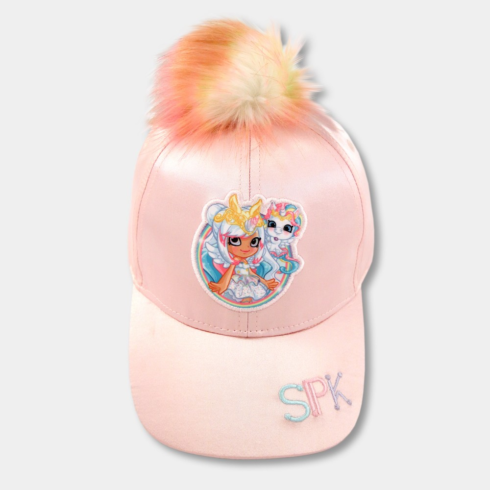 Image of Girls' Shopkins Baseball Cap with Pom Unicorn - Peach, Pink