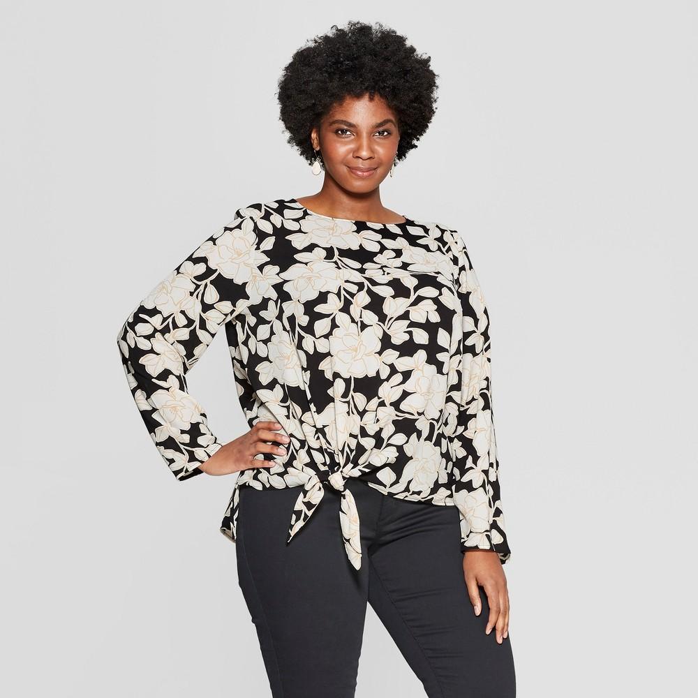 Women's Plus Size Floral Print Long Sleeve Tie Front Woven Top - Ava & Viv Black 4X