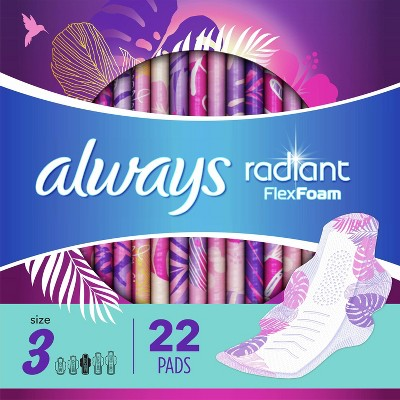 Always Radiant Extra Heavy Flow Absorbency with Flex Foam Pads - Scented - Size 3 - 22ct