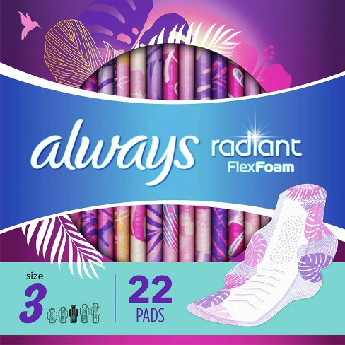 Always Radiant Extra Heavy Flow Absorbency with Flex Foam Pads - Scented - Size 3 - 22ct - image 1 of 4