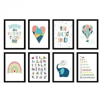 (Set of 8) Pretty Playroom Prints by Chaos & Wonder Design  Gallery Framed Decorative Wall Art Set