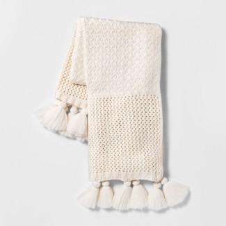 Chunky Knit Throw Blanket Cream - Opalhouse™