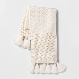 Chunky Knit Throw Blanket Cream - Opalhouse™