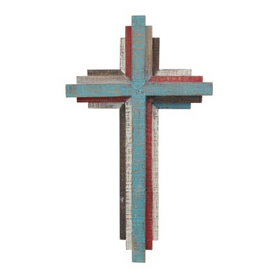 "14.4"" x 8.5"" Rustic 3D Wooden Wall Cross - Stonebriar Collection"