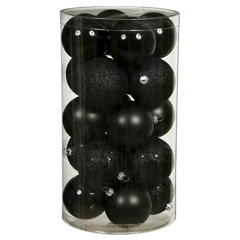 96ct Black Plastic Assorted Finishes Ball Shatterproof Christmas Ornament Set - image 1 of 1