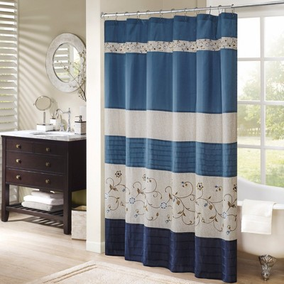 Monroe Embroidered Floral Shower Curtain Navy