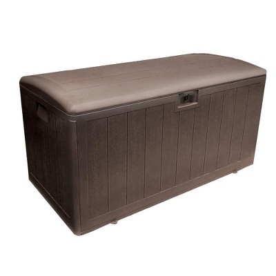 Plastic Development Group 105-Gallon Weather-Resistant Plastic Resin Outdoor Patio Storage Deck Box with Gas Shock Lid, Java Brown