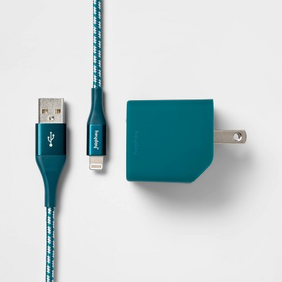heyday™ 2-Port Wall Charger USB-A & USB-C (with 6' Cable)- Dark Teal/White