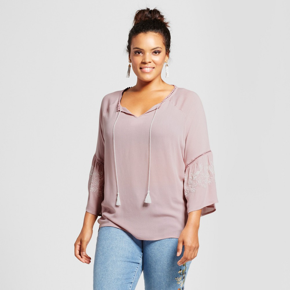 Women's Plus Size Tie Front Embroidered Bell Sleeve Blouse - Grayson Threads (Juniors') Purple 3X