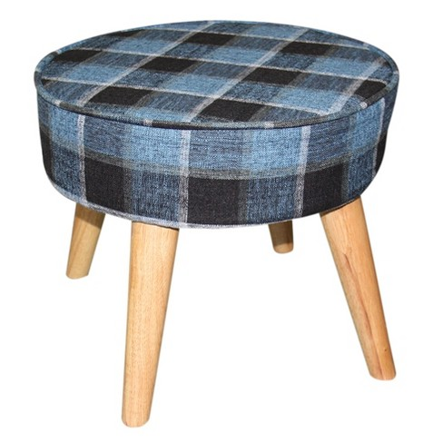 "Mid - Century Foot Stool 13.5"" - Blue Tartan - Ore International - image 1 of 2"