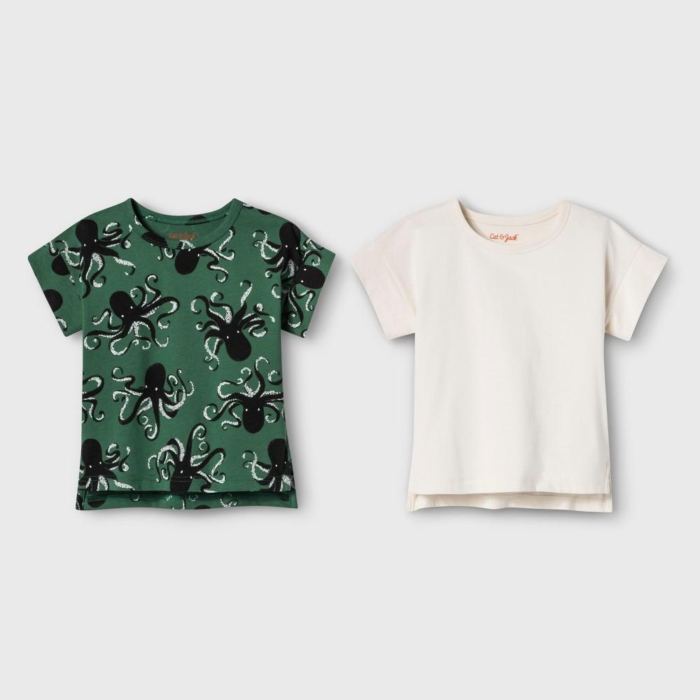 Image of petiteToddler Boys' Short Sleeve T-Shirt 2pk - Cat & Jack Green/Cream 12 M, Boy's, Size: Medium, Ivory/Green