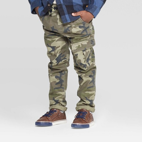 Toddler Boys' Camo Cargo Pants - art class™ Olive - image 1 of 3