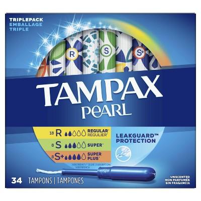 Tampax Pearl TriplePack Tampons - Regular/Super/Super Plus/ - Unscented - 34ct : Target
