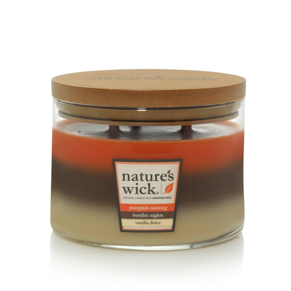 Image of 18oz Glass Jar 3-Wick Layered Candle Pumpkin Nutmeg/Bonfire Nights/Vanilla Dolce - Nature's Wick