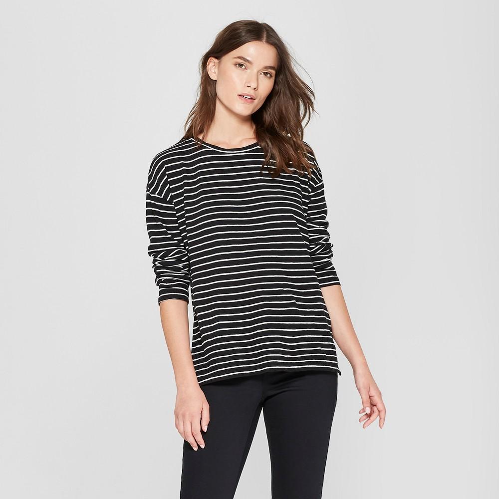 Women's Striped Drop Shoulder Long Sleeve T-Shirt - Universal Thread Black/White Xxl